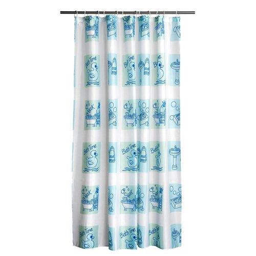 12 Hook Bath Time Design Shower Curtain