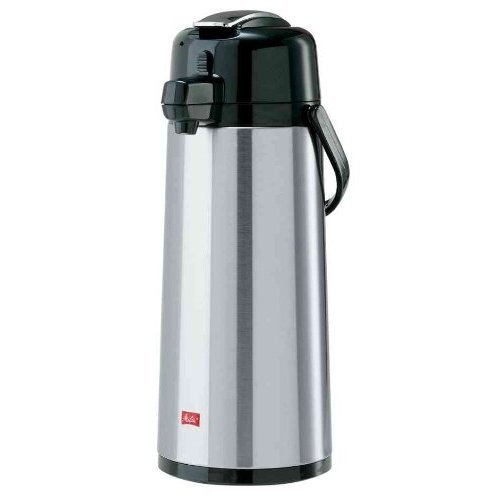 Melitta Pump Pot Vacuum Jug 2.2 Litres/Approx. 16 Cups - Glass Vacuum Insulation, Stainless Steel Exterior - Silver & Black