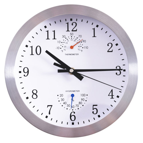 "HOMCOM ?10"" / 25cm Wall Clock Non Ticking Metal W/ Temperature Humidity Large Numbers Living Room Silver"