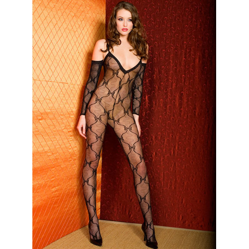 Bow lace bodystocking with sleeves  Ladies Lingerie Cat suits - Music Legs