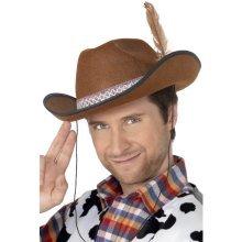 b60bb9117fc Smiffy s Dallas Hat Felt With Feather - Brown - hat dallas fancy dress  adult costume brown cowboy mens unisex smiffys cowboys wild west sale party