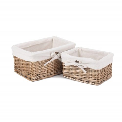 Set 2 Small Antique Wash Wicker Storage Baskets