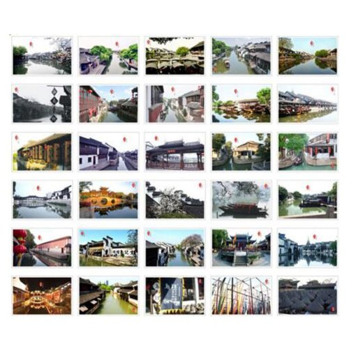 30PCS 1 Set Creative Postcards Artistic Beautiful Postcards, Jiangnan Six Towns