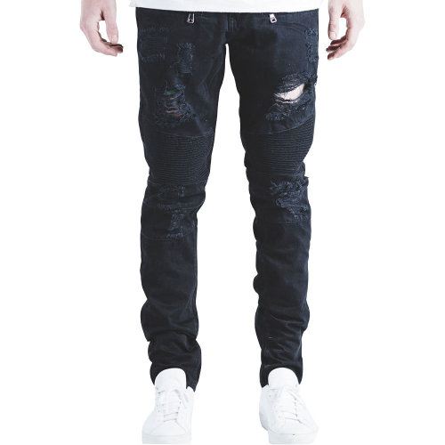 Embellish Testarossa Biker Denim Jeans Black