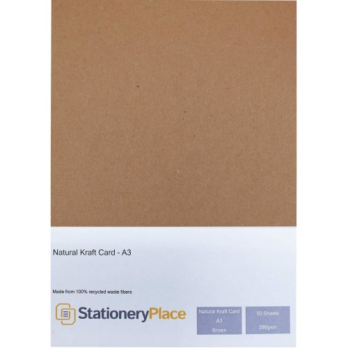 Stationery Place Thick - Brown Recycled Natural Kraft Card - A3 280 GSM 50 Sheet Pack