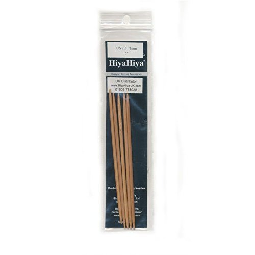 HiyaHiya 5-inch/ 12 cm x 3.5 mm Bamboo Double Pointed Needles, Set of 5