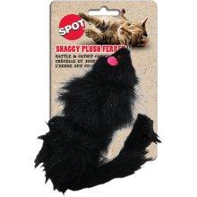 "Shaggy Plush Ferret With Rattle & Catnip 11""-Black"