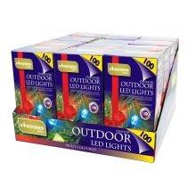 100 Multi-coloured Static LED Christmas Lights - Multi Outdoor Indoor Coloured -  led lights christmas multi outdoor static 100 indoor coloured white