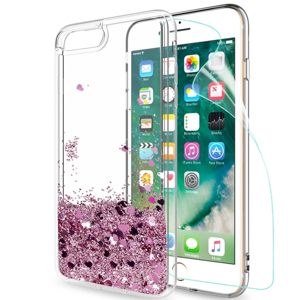 size 40 fc747 69120 iphone 7 Plus / iphone 8 Plus Case Glitter Liquid with HD Screen Protector,  LeYi Luxury Sparkly Bling Quicksand Cute for Girls Women Clear...