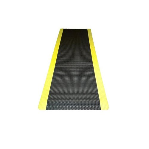 Ranco Industries RFLX36DSBYX10 Reflex Double Sponged Anti-fatigue Mat, Black with Yellow Border - 3 ft. x 10 ft. x 1 in.