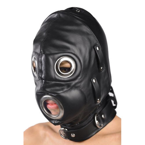 Total Lockdown Leather Hood - Small/Medium M/L BDSM Masks - Strict Leather