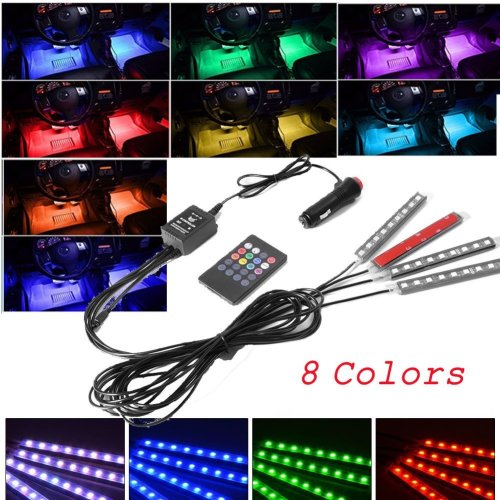 4pcs Car Interior Atmosphere Lights with 8 Color 9 LED light, Car Interior Footwell Lighting Kit, Neon Decoration Lights Strip with Sound Active...