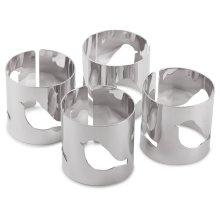 Set of 4 Contemporary Silver Metal Bird Cut-out Napkin Rings