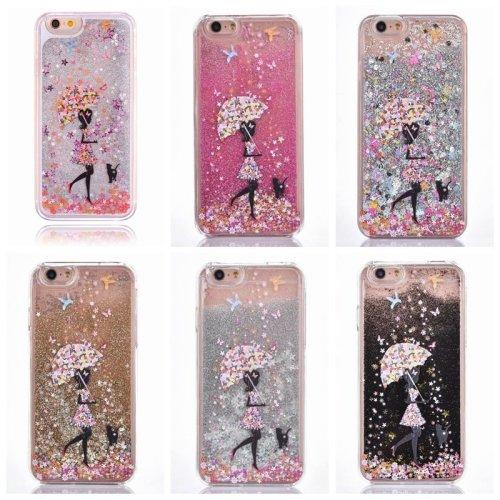 Luxury Girl Walk In The Rain Glitter Liquid Hard Phone Case Cover