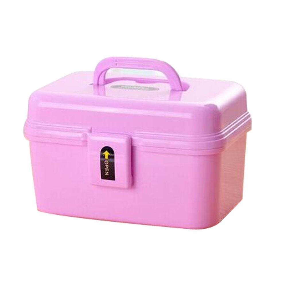 Portable Handheld Family Medicine Cabinet First Aid Kit Storage Box Purple