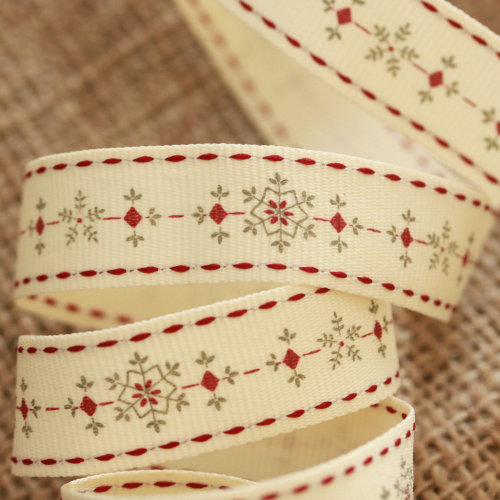 East of India Snowflake Festive Christmas Ribbon 3 Metres Xmas Craft