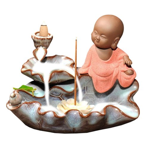 Porcelain Incense Burner Holder Cute Little Monk Design