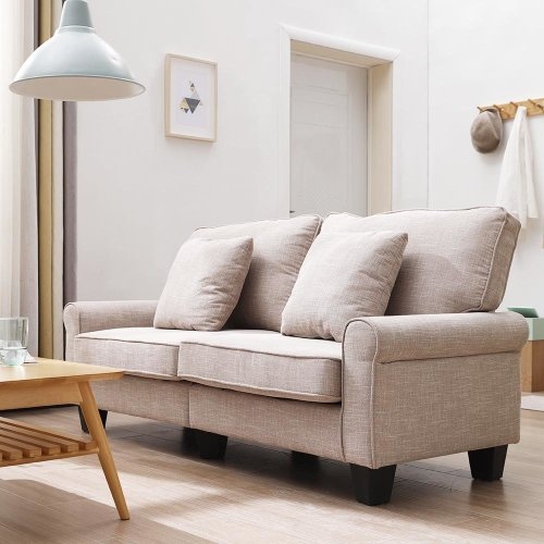 Admirable 2 Seater Light Brown Fabric Sofa Settee Couch Ncnpc Chair Design For Home Ncnpcorg