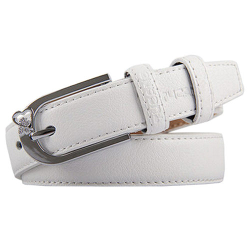 White Casual Ladies Fashionable Joker Belts Bales Catch Leather Pin buckle