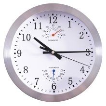"""HOMCOM ?10"""" / 25cm Wall Clock Non Ticking Metal W/ Temperature Humidity Large Numbers Living Room Silver"""