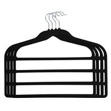 Set of 4 Non Slip Trouser Hangers In Black Velvet Soft Touch