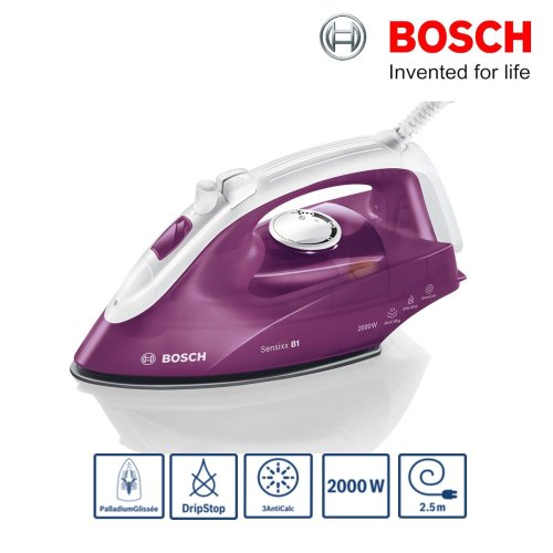 Bosch TDA2625GB Sensixx B1 Steam Iron 2000W 85g/min Drip Stop Deep Berry