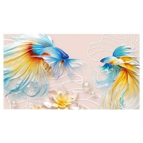 Home Creative 50-Inch TV Cloth Decorative Dustproof Cover, Goldfish