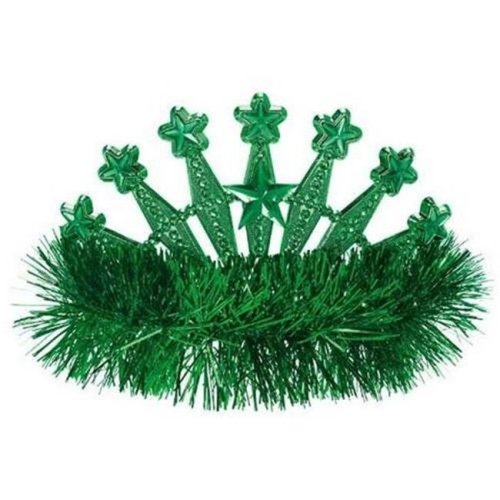 Amscan 395896.03 Star Tinsel Tiara, Festive Green - Pack of 9