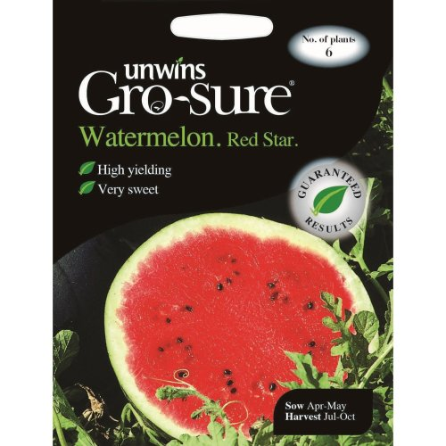 Unwins Pictorial Packet - Watermelon Red Star F1 - 6 Seeds