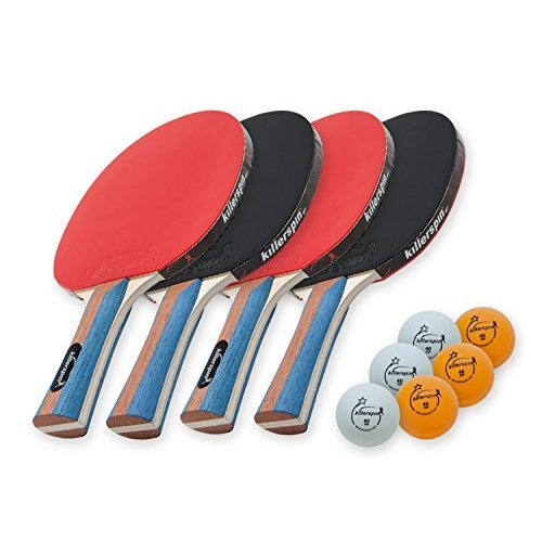 Killerspin JETSET 4 Premium Set Table Tennis Set with 4 Ping Pong Paddles With Premium Rubbers and 6 Ping Pong Balls