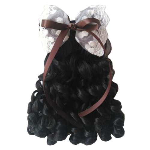 Children Girls Long Curly Wigs Hair Extensions Hair Clip Kids Wig Hairpiece, F