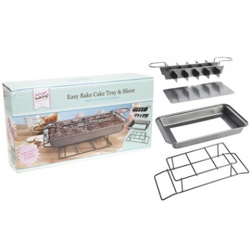 Get Baking! Easy Bake Cake Tray & Slicer In Colour Box - Baking Kitchen -  bake baking cake tray slicer easy kitchen professional brownie get cooking