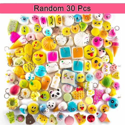 TSLIKANDO Squishies Slow Rising 30Pcs Medium Mini Soft Squishy Bread Toys Key Cell Phone Pendant Strap