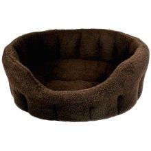 Premium Oval Fleece Softee Bed Dark Brown Size 5 76x64x24cm