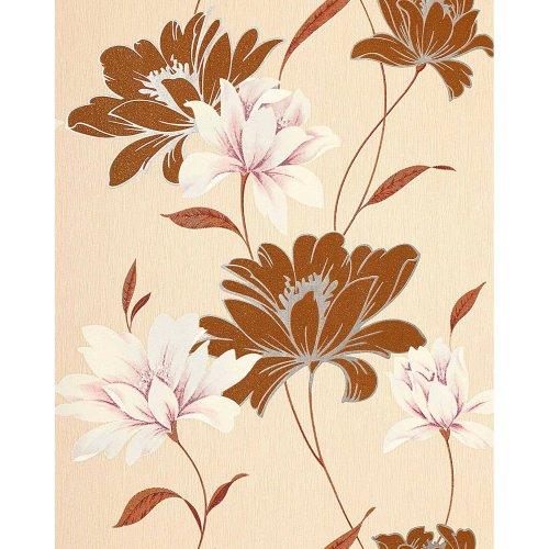 EDEM 168-31 vinyl wallpaper floral design flowers nut-brown cream rose 5.33 sqm