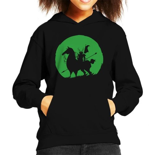 Shadow Warrior Green Silhouette Samurai Jack Kid's Hooded Sweatshirt