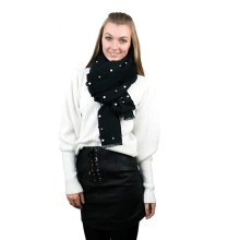 (Black) Miss Lulu Women's Coloured Bead & Faux Pearl Scarf