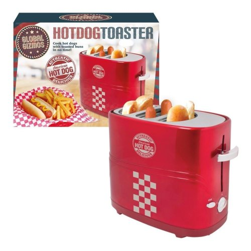 Global Gizmos Twin Hot Dog Maker Toaster Machine, 700 W, Red