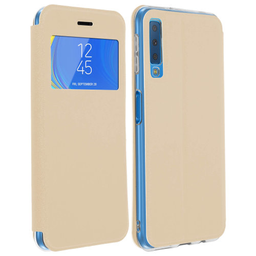 huge discount 107c8 f318e Window flip case flip wallet case with stand for Samsung Galaxy A7 2018 -  Gold