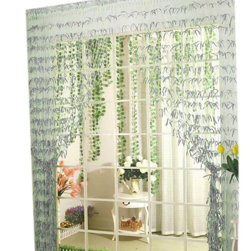 Willow Line Door String Curtain Window Panel Room Divider Strip Curtain, Silver