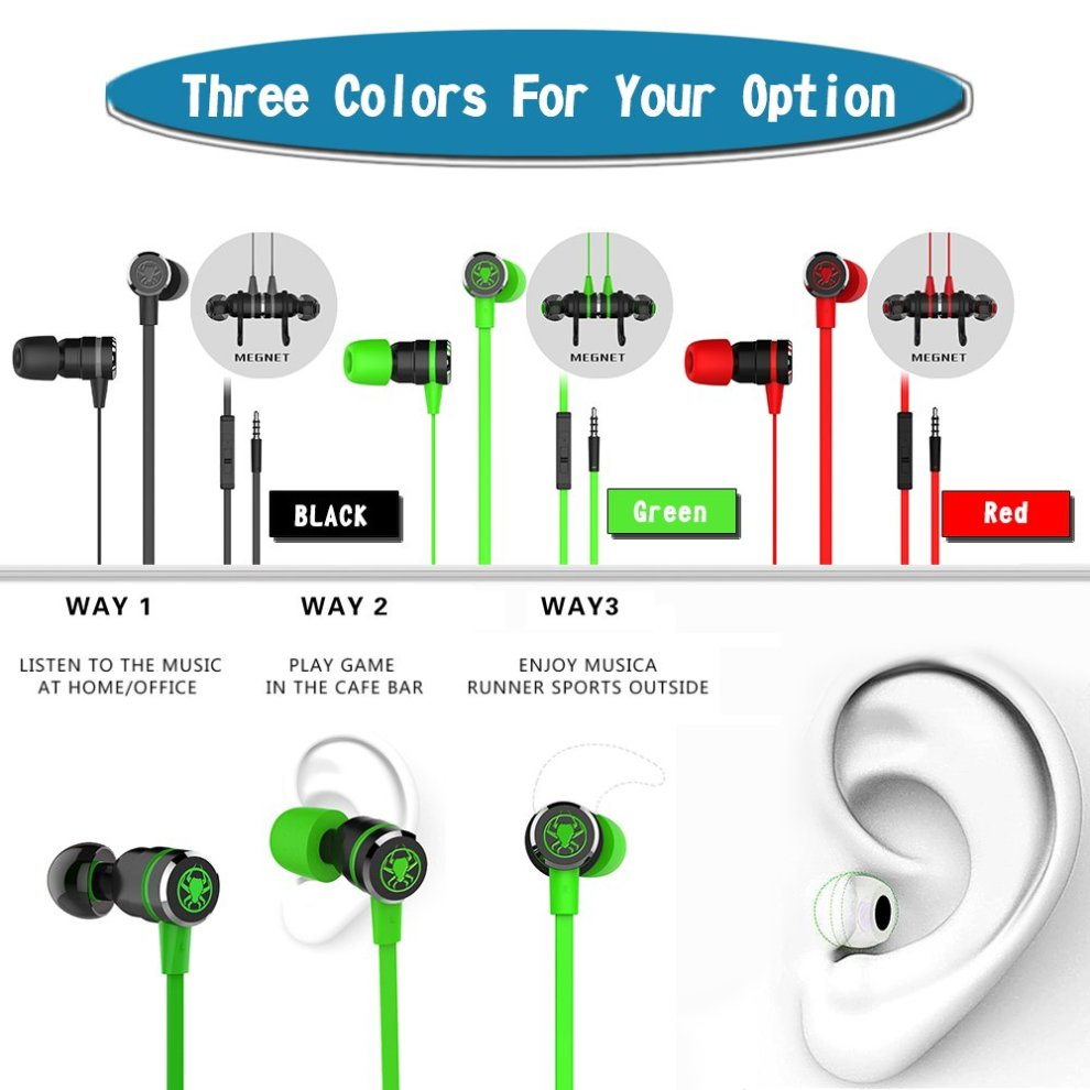 Hellodigi G20 In-Ear Gaming Headphone Noise-isolating Magnetic Wire on