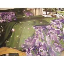 Duvet Cover Set and sheet Flowers Green Background 3D Effect, Single