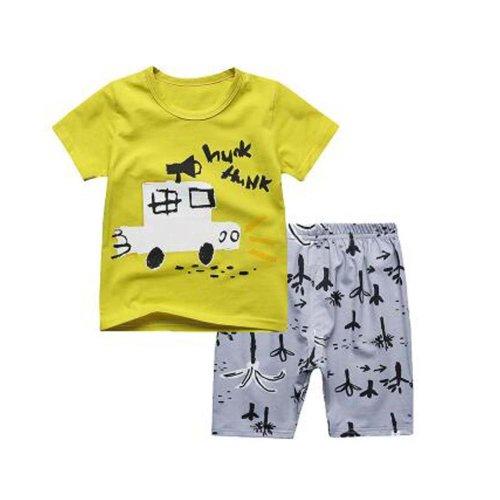 Boys Pajamas Truck Cotton Kids Clothes Short Sets Children Cartoon Sleepwear