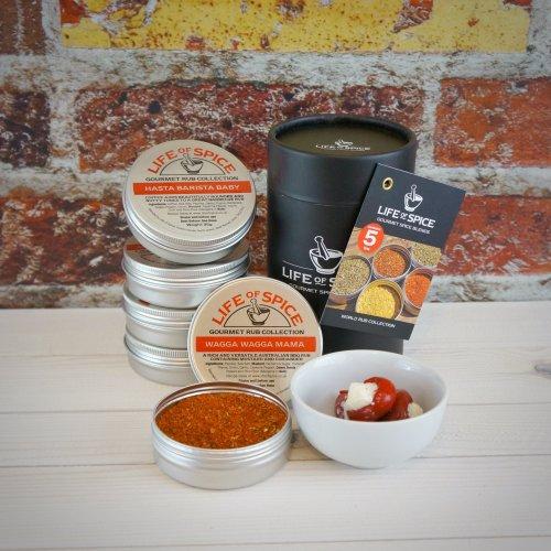 Life of Spice World Rub Collection - Fifty Shades of Grey, Savannah Gold, Hasta Barista Baby, Pepper Smurf and Wagga Wagga Mama