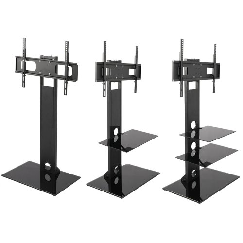 Mountright Black TV Stand with Swivel Bracket
