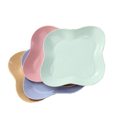 4 Set Decorative Tray Snacks Dishes Trays Platters Candy Dishes Fruit Plate (Diameter 14cm)