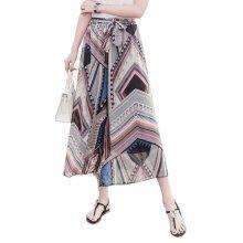 Stylish Printing Design Loose Fitting Pants Wide Leg Trousers Slacks for Women, #02