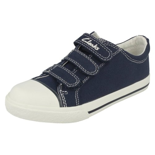 Boys Clarks Canvas Pumps Halcy Sky - Navy Canvas - UK Size 10.5E - EU Size 28.5 - US Size 11N