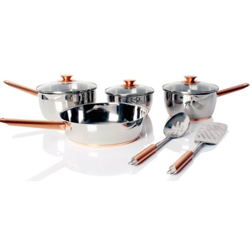 Sabichi 6 Piece Copper Based Saucepans with Lids Frying Pan Utensil Set Cookware
