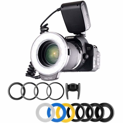 Yeeteem 48 Macro LED Ring Flash Light RF-550D Includes 4 pcs Diffusers and 8 pcs Adapter Rings(Clear, Warming, Blue, White) for Canon, Nikon,...